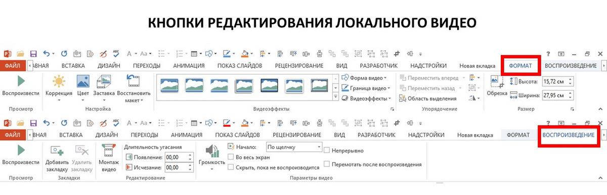 панели настройки добавленного в PowerPoint видео