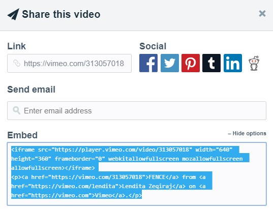 как скопировать видео vimeo в powerPOint