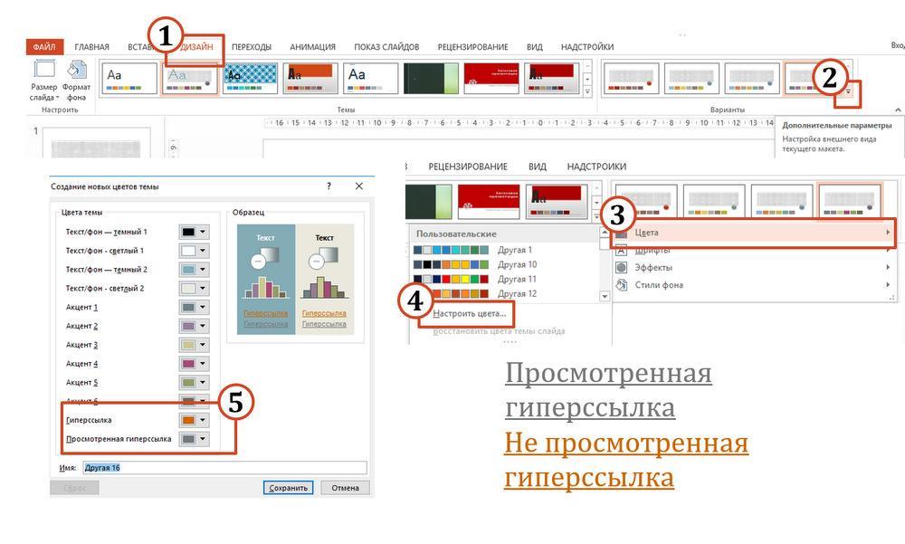 изменить цвет гиперссылки в PowerPoint (поверпоинт)